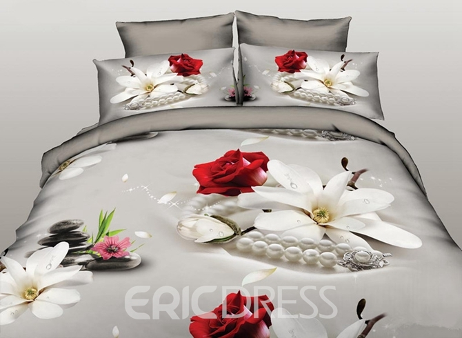 Vivilinen Fresh Magnolia and Rose Print 4-Piece Polyester Duvet Cover Sets