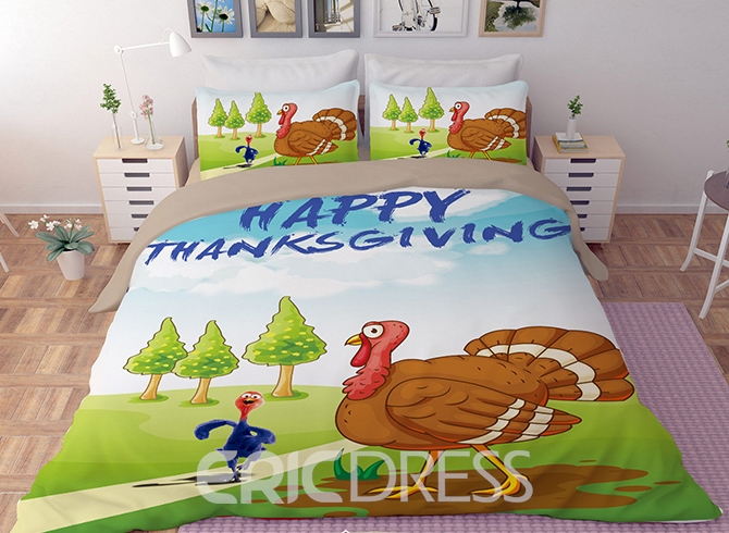 Vivilinen 3D Happy Thanksgiving Day Pumpkin Printed Polyester 4-Piece Bedding Sets/Duvet Covers