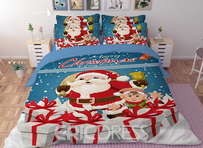 Vivilinen 3D Santa and Christmas Gift Printed Polyester 4-Piece Bedding Sets/Duvet Covers