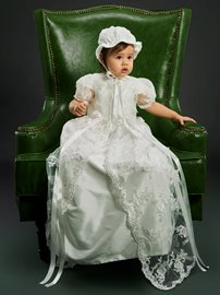 Ericdress Adorable Long Lace Appliques Baby Girls Christening Gown with Bonnet