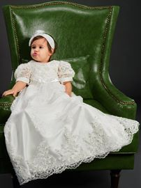Ericdress Lace Infant Girl Christening Baptism Dress with Headband