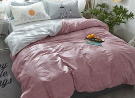 Vivilinen Nordic Style Grid Printed Cotton Pink Kids Duvet Covers/Bedding Sets