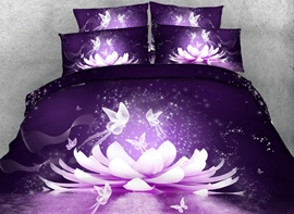 Vivilinen 3D Dreamy Lotus and Butterfly Printed Cotton 4-Piece Purple Bedding Sets/Duvet Covers