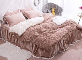 Vivilinen Solid Khaki with Decorative Fuzzy Ball Faux Rabbit Fur 4-Piece Fluffy Bedding Sets