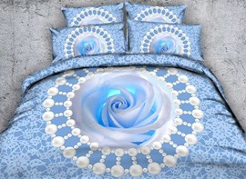 Vivilinen 3D Blue Rose and Pearls Printed Cotton 4-Piece Bedding Sets/Duvet Covers
