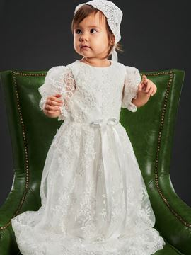 Ericdress Short Sleeves Sashes Lace Christening Gown for Girls Baptism