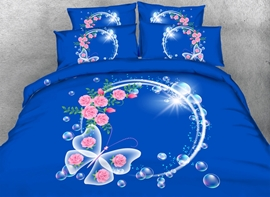 Vivilinen 3D Garland and Butterfly Printed Cotton 4-Piece Blue Bedding Sets/Duvet Covers