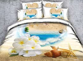Vivilinen 3D Starfish and White Flowers Printed Cotton 4-Piece Bedding Sets/Duvet Covers