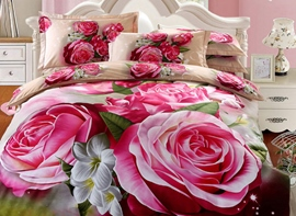 Vivilinen 3D Red Peony Printed Cotton Full Size 4-Piece Bedding Sets/Duvet Covers