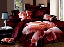 Vivilinen 3D Lifelike Pink Lotus Printed Cotton 4-Piece Bedding Sets Duvet Cover
