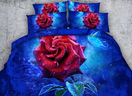 Vivilinen 3D Red Rose Printed Printed Cotton 4-Piece Blue Bedding Sets/Duvet Covers