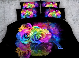 Vivilinen 3D Eiffel Tower and Roses Printed Cotton 4-Piece Black Bedding Sets/Duvet Covers