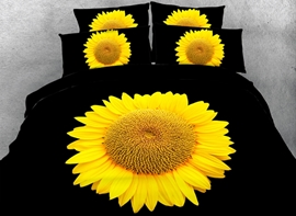 Vivilinen 3D Bright Yellow Sunflower Printed Cotton 4-Piece Black Bedding Sets/Duvet Covers