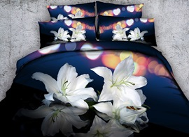 Vivilinen 3D White Lilies Printed Cotton 4-Piece Bedding Sets/Duvet Covers