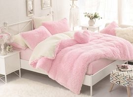 Vivilinen Solid Pink and Creamy White Color Block 4-Piece Fluffy Bedding Sets/Duvet Cover