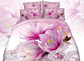 Vivilinen 3D Pink Magnolia and Necklace Printed Cotton 4-Piece Bedding Sets/Duvet Cover
