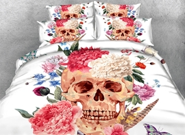 Vivilinen 3D Peonies and Skull Printed Cotton 4-Piece White Bedding Sets/Duvet Covers