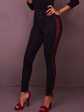 Ericdress High-Waist Plain Stripe Leggings Pants