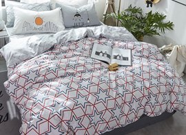 Vivilinen Stars Printed Cotton Nordic Style White Kids Duvet Covers/Bedding Sets