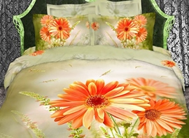 Vivilinen 3D Orange Daisies Printed Cotton 4-Piece Bedding Sets/Duvet Cover