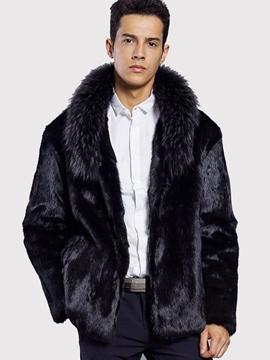 Ericdress Plain Faux Fur Lapel Vogue Slim Men's Winter Coat