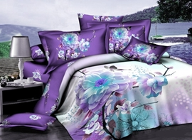 Vivilinen Purple Magnolia 3D Printed Cotton 4-Piece Bedding Sets/Duvet Covers
