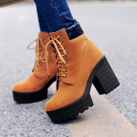 Ericdress Fashion Lace-up Chunky Heel Boots
