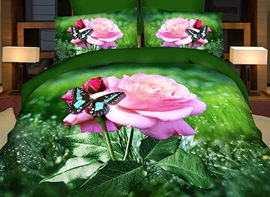 Vivilinen 3D Butterfly and Pink Rose Printed Cotton 4-Piece Bedding Sets/Duvet Covers