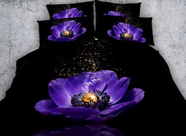 Vivilinen 3D Purple Poppy and Pearl Printed 4-Piece Black Bedding Sets/Duvet Covers