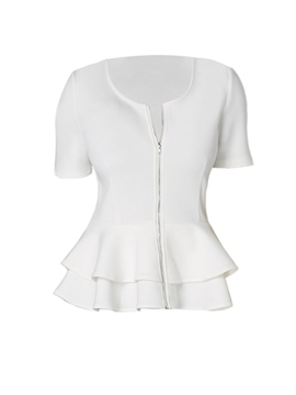 Ericdress Slim Plain Zipper Ruffles Blouse