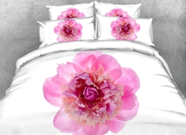 Vivilinen 3D Pink Peony Printed Cotton 4-Piece White Bedding Sets/Duvet Covers