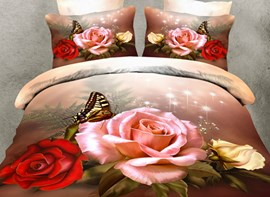 Vivilinen 3D Roses and Butterfly Printed Polyester 4-Piece Bedding Sets/Duvet Covers