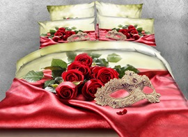 Vivilinen Golden Mask and Roses 3D Printed 4-Piece Bedding Sets/Duvet Cover
