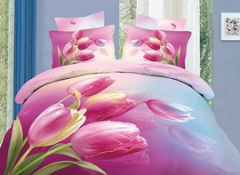 Vivilinen 3D Pink Tulips Printed Cotton 4-Piece Bedding Sets/Duvet Cover