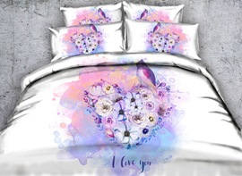 Vivilinen 3D Heart-shaped Flowers and Bird Printed Cotton 4-Piece Bedding Sets/Duvet Covers