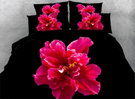 Ericdress rouge fleur en obscurité impression 3D Bedding Sets