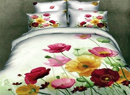 Vivilinen 3D Colorful Pansy Printed Cotton 4-Piece Bedding Sets/Duvet Cover
