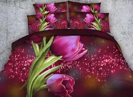 Vivilinen 3D Red Tulips and Galaxy Printed Cotton 4-Piece Bedding Sets/Duvet Covers