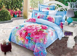 Vivilinen 3D Blooming Peonies Printed Cotton 4-Piece Blue/Pink Bedding Sets