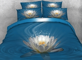 Vivilinen 3D White Lotus Printed Cotton 4-Piece Blue Bedding Sets/Duvet Covers