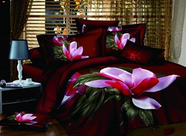 Vivilinen 3D Blooming Magnolia Printed Cotton 4-Piece Burgundy Bedding Sets/Duvet Cover