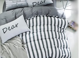 Vivilinen Nordic Style Stripes Printed Cotton Gray Kids Duvet Covers/Bedding Sets