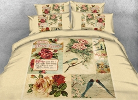 Vivilinen 3D Bird and Flower Printed Vintage Style Cotton 4-Piece Bedding Sets/Duvet Covers