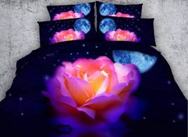 Vivilinen 3D Colorful Rose with Moon Stars Printed Cotton 4-Piece Bedding Sets/Duvet Covers