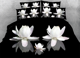 Vivilinen 3D White Lotus Printed Cotton 4-Piece Black Bedding Sets/Duvet Cover