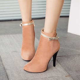 Ericdress Color Block Round Toe High Heel Boots with Bowknot