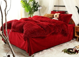 Vivilinen Full Size Hot Red Super Soft Plush 4-Piece Fluffy Bedding Sets/Duvet Cover