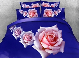 Vivilinen 3D Pink Roses Printed Cotton 4-Piece Blue Bedding Sets/Duvet Covers