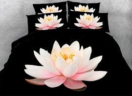 Vivilinen 3D Pink Lotus Printed Cotton 4-Piece Black Bedding Sets/Duvet Covers