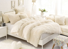 Vivilinen Solid Creamy White Soft 4-Piece Fluffy Bedding Sets/Duvet Cover